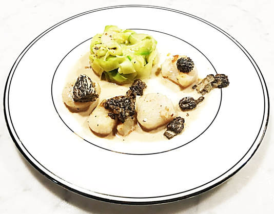 Seared Scallops with Morels and Zucchini Tagliatelles - Cuisine Inspired