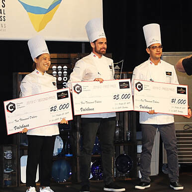 Pastry Chefs Eunji Lee, Kevin Clémenceau and Jim W Hutchinson at Valrhona C3 North American Final at StarChefs Congress 2019 - Photo: Cuisine Inspired